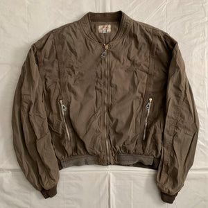 1990s Armani Faded Brown Oversized Bomber Jacket with Contrast Detailing - Size XXL