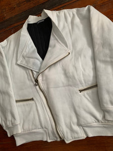 1980s Issey Miyake White Dual Backzip Heavy Cotton Bomber Jacket with Asymmetric Closure - Size XL