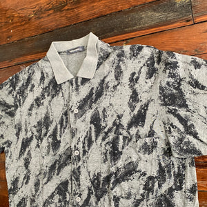 1980s Issey Miyake Grey Oversized Printed Shirt - Size L