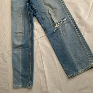 1990s CDGH Faded Vintage White Label Denim with Knee Blowout - Size S