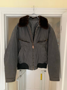 1990s Armani Washed B-15 Bomber Jacket with Removable Fur Collar and Articulated Shoulder Gusset - Size XL