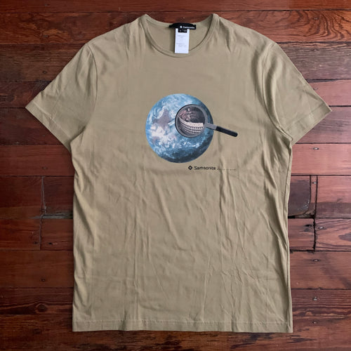 2000s Samsonite Travel Wear by Neil Barrett Earth Tone Globe Tee - Size S