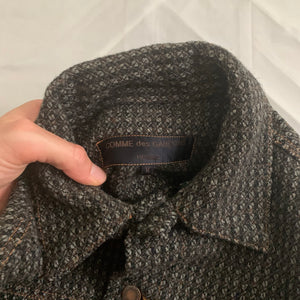 1997 CDGH Charcoal Grey Textured Tweed Trucker Jacket - Size M