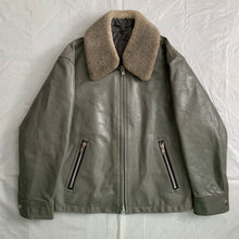 Load image into Gallery viewer, 1994 CDGH Slate Grey Leather Jacket with Removable Fur Collar - Size XL