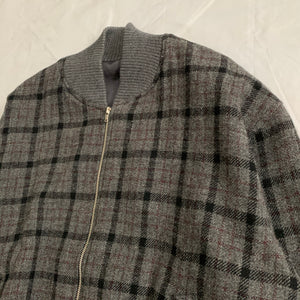1990s CDGH Wool Charcoal Grey Checkered Bomber - Size L