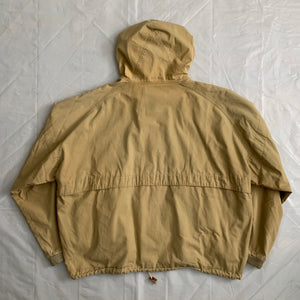 1990s Armani Faded Yellow Paneled Hooded Work Jacket  - Size XL