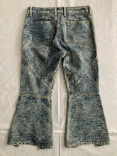 Load image into Gallery viewer, ss2007 Issey Miyake Rose Embossed Paneled Flared Denim Pants - Size XS