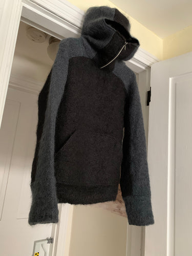 2000s Vintage Grey and Black Mohair Ninja Hoodie - Size M