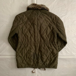 1990s Armani Olive Quilted M65 Field Jacket with Fur Collar - Size M