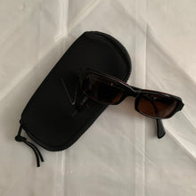 Load image into Gallery viewer, 2000s Yohji Yamamoto Black Rectangular Sunglasses with Vibrant Red Wiring - Size OS
