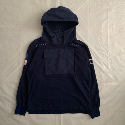aw2015 Cav Empt Navy Fleece Hooded Pullover - Size L