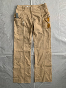 2000s Armani Beige Gimmick Cargo Pocket Work Pants - Size S
