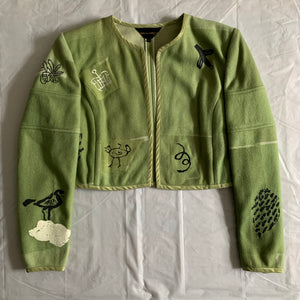 1989 CDG Green Object Dyed and Hand Painted Bolero Jacket - Size S