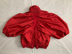 aw2007 Issey Miyake APOC Cropped Red Jacket with Pleats and Ribbing Details - Size S