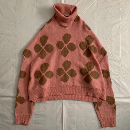 aw1996 CDG Cropped Flower Intarsia Sweater - Size M