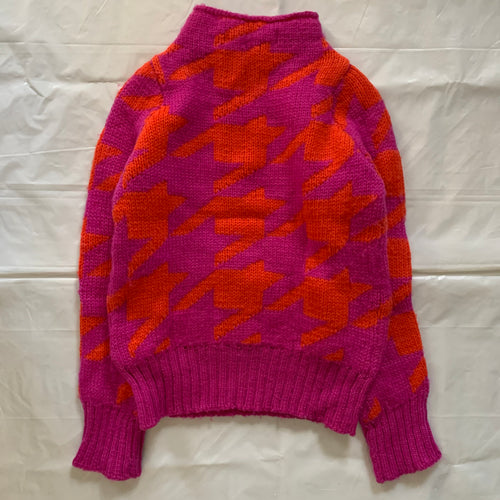 2001 Junya Watanabe Pink and Red Houndstooth Sweater - Size S