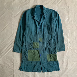 1970s Vintage French Patched Long Work Jacket - Size M