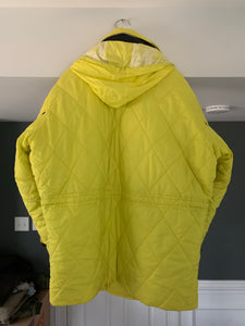 aw1993 Issey Miyake Quilted Yellow Nylon Moto Parka with Wrap Neck and Packable Hood - Size L