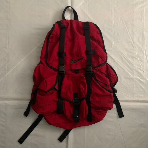 1990s Vintage Nike Red Nylon Parachute Backpack - Size OS