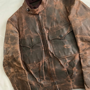 aw2009 Yohji Yamamoto x Justin Davis Uzi Pinup Brown Leather Trucker Jacket - Size M