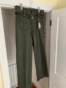 1990s Armani Olive High Waist Military Trousers with Zipper Hems - Size M