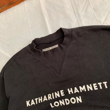 Load image into Gallery viewer, 1990s Katharine Hamnett Logo Crewneck with Articulated Neck and Cuff Ribbing - Size L
