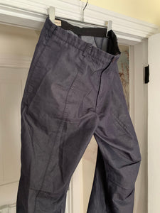1990s Armani Indigo Cotton Poly Blend Flare Trousers - Size M