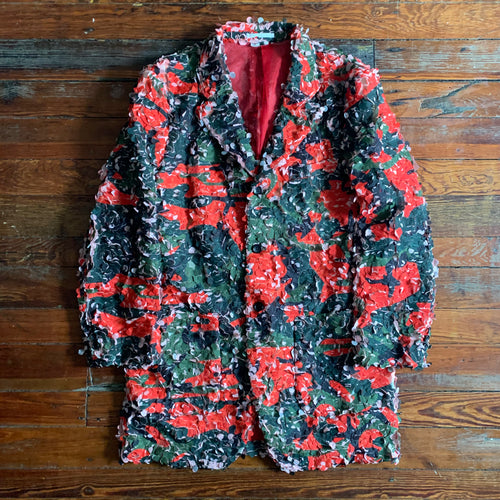 ss2019 CDGH+ Red Tulle Embroidered Camouflage Blazer - Size M