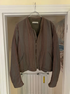 1990s Armani Cropped Linen Collarless Swing Jacket - Size XL