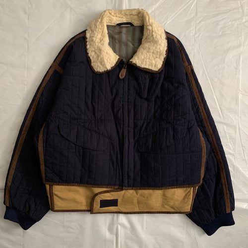 1990s Armani Quilted B-3 Jacket with Sherpa Lined Collar and Extended Hem - Size XL
