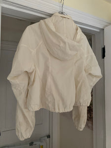 2000s Issey Miyake Off-white Translucent Cropped Technical Jacket with Packable Hood - Size M