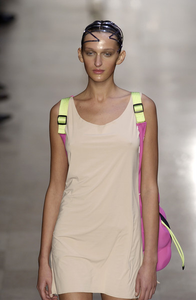 ss2004 Issey Miyake Futuristic Deformed Pink Neoprene Backpack / Tote Bag with Transparent Piping Trim - Size OS