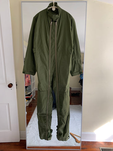 1980s Vintage Royal Air Force (RAF) Ventile Dual Front Zipper Flight Suit - Size XL