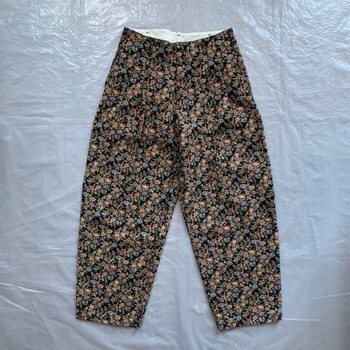aw2011 CDGH+ Black Gobelin Tapestry Floral Double Pleated Trouser - Size S