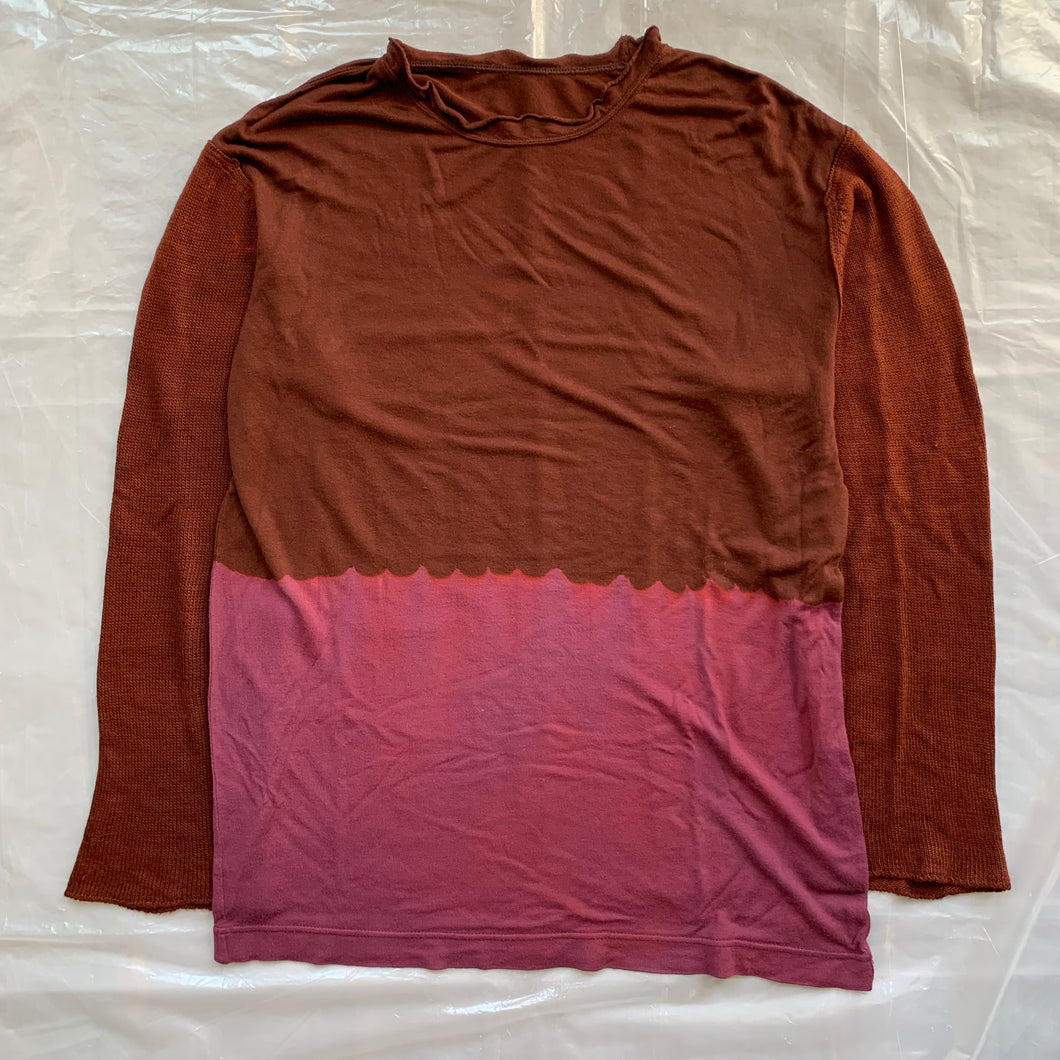 aw1993 CDGH+ Bleach Dye Shirt with Knitted Sleeves - Size OS