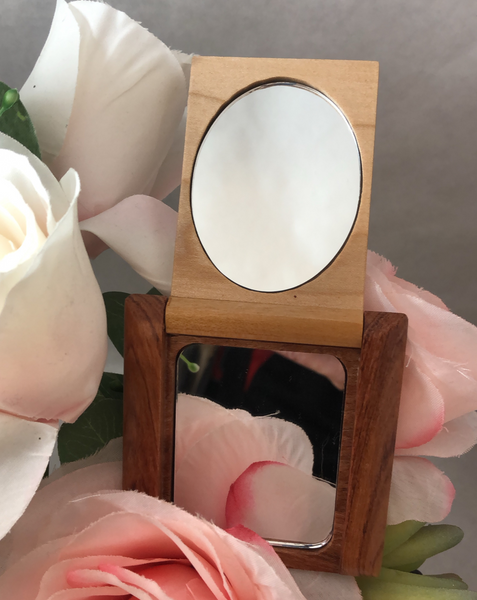 Engraved Compact Wooden Open Flip Mirror. World's Best Mom Gift. MaMa Bear. Teen Gift. - C & A Engraving and Gifts