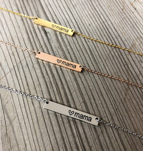 Personalized Necklace. Mama Bar Necklace. Coordinates Necklace. - C & A Engraving and Gifts