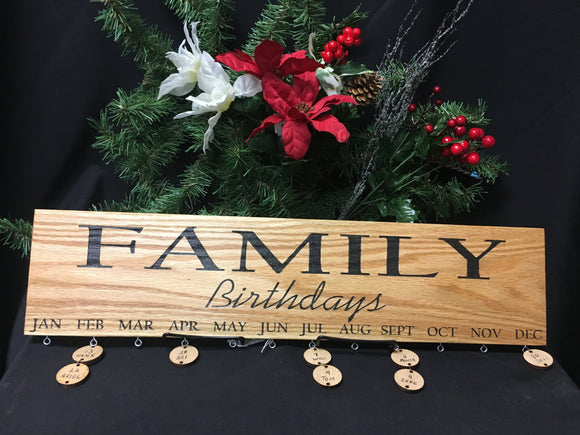 Family Birthday Board Engraved Calendar with Circles