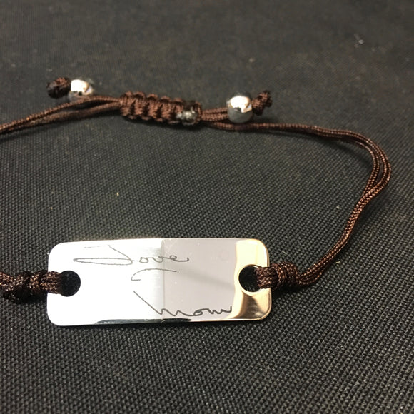Photo Engraved Handwritten String Bracelet