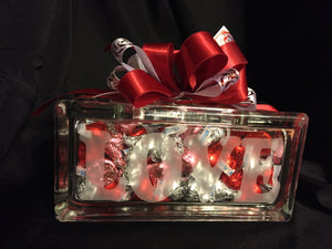 Love Glass Block Engraved. Candy Dish. - C & A Engraving and Gifts