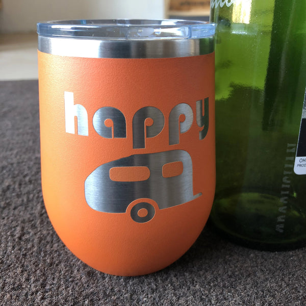 Happy Camper Stemless Wine Engraved Tumbler. Camping Drink Holder. - C & A Engraving and Gifts