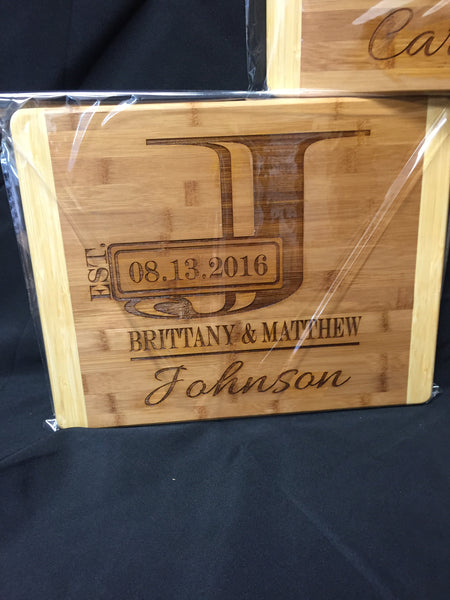 Personalized Initial Wedding Anniversary Cutting Board. Wedding Gift. - C & A Engraving and Gifts