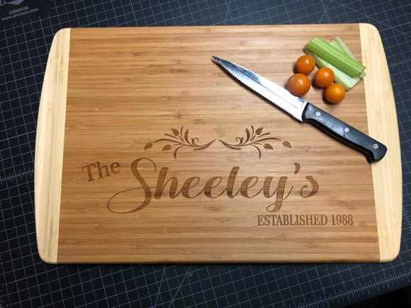 Engraved Last Name and Date Bamboo Cutting Board