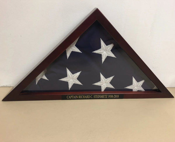 Elegant Flag Display Case. Solid Cherry Wood Military Flag Case. - C & A Engraving and Gifts