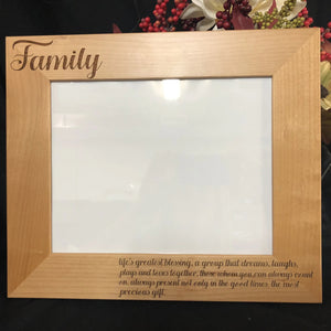 Family Wood Photo Frame. Family Picture Frame. - C & A Engraving and Gifts
