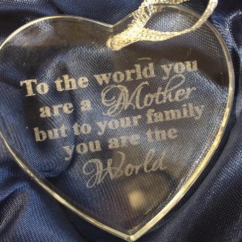 Glass Heart Ornament Engraved - C & A Engraving and Gifts