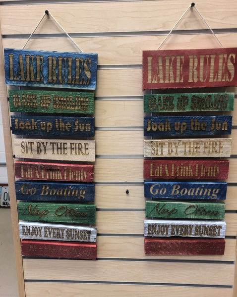 Lake Rules Colorful Pallet Wood Sign - C & A Engraving and Gifts