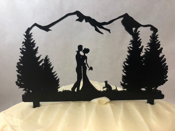 Wedding Couple Cake Topper with Cat