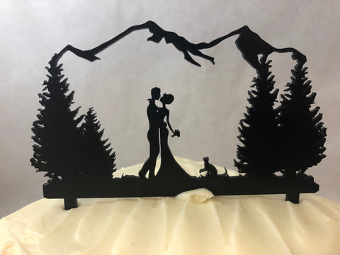 Cake Topper Wedding Couple Outdoors with Cat. Cat Cake Topper. - C & A Engraving and Gifts