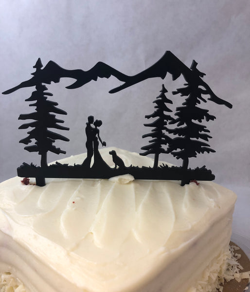Cake Topper Wedding Couple Outdoors With Dog. Dog Cake Topper.